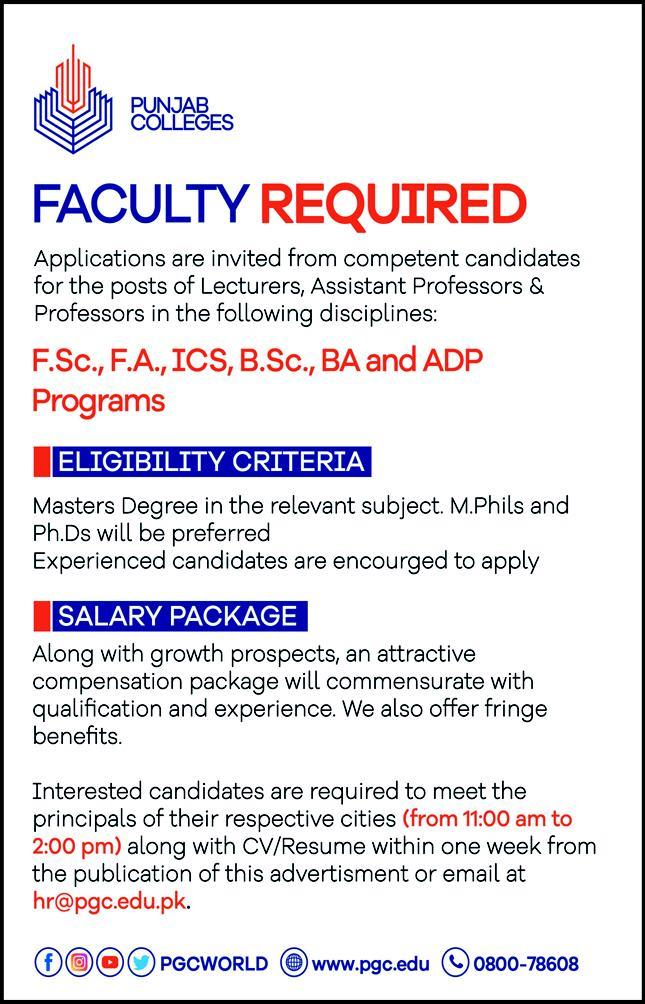 Punjab Colleges Jobs August 2020 Latest