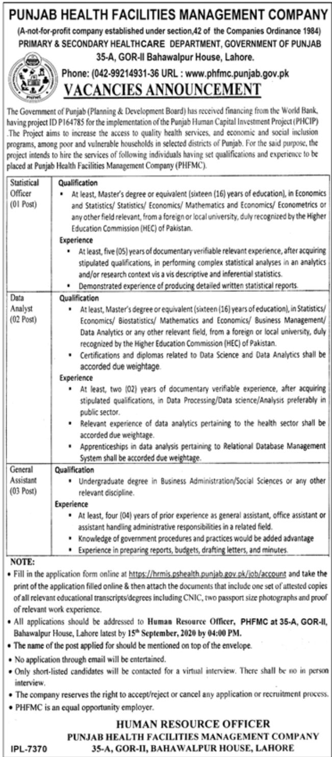 Punjab Health Facilities Management Company Jobs August 2020