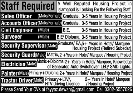 Reputed Housing Project Islamabad Jobs August 2020