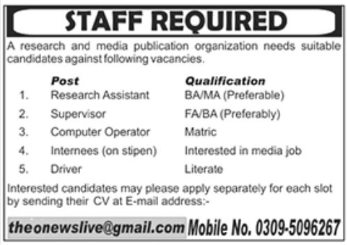 Research and Media Publication Organization Jobs August 2020