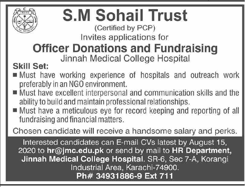 S M Sohail Trust Jobs August 2020