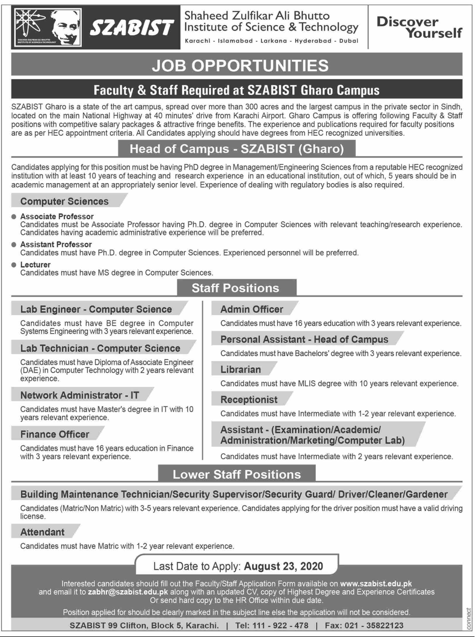 Shaheed Zulfikar Ali Bhutto Institute of Science & Technology Jobs August 2020