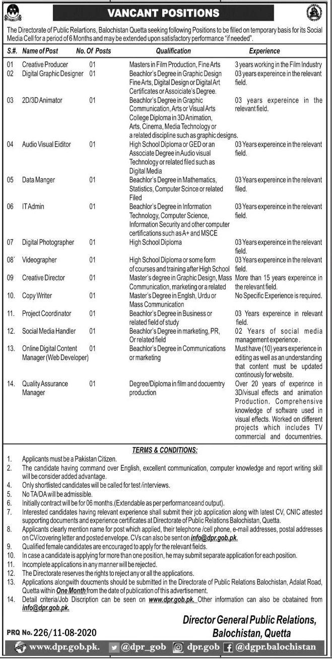 The Directorate of Public Relations Balochistan Quetta Jobs August 2020