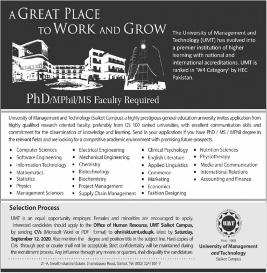 The University of Management and Technology UMT Jobs August 2020