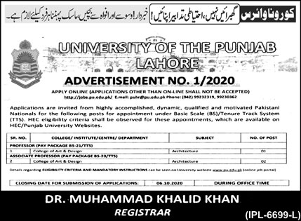 University of the Punjab Lahore Jobs August 2020