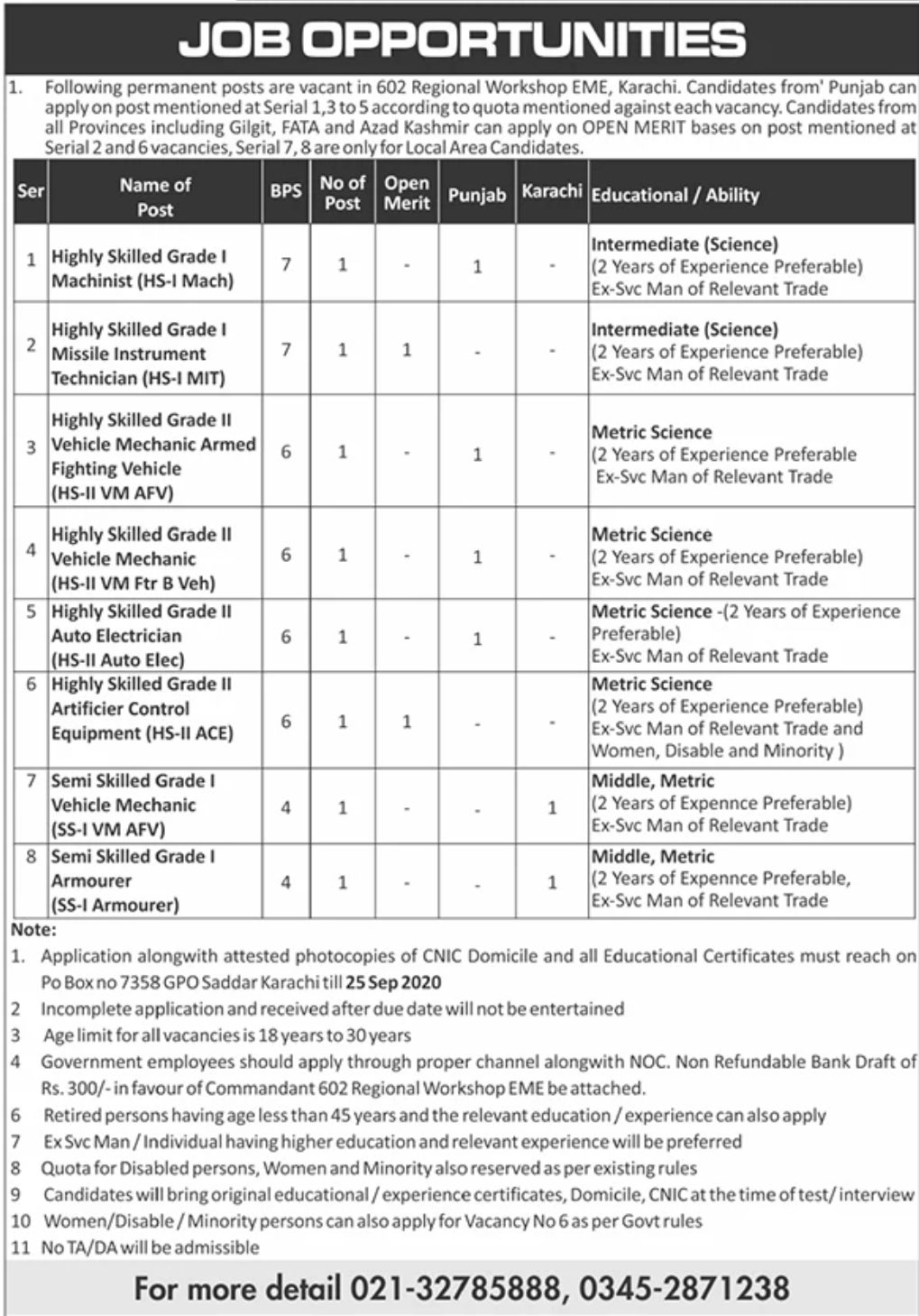 602 Regional Workshop EME Karachi Jobs September 2020