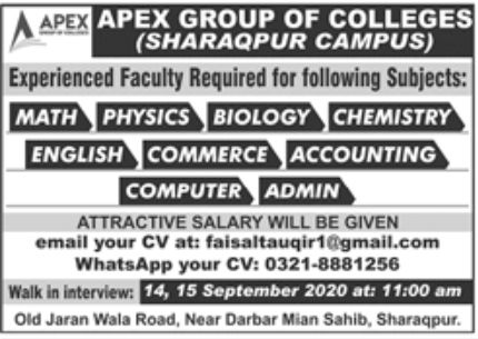 APEX Group of Colleges Jobs September 2020