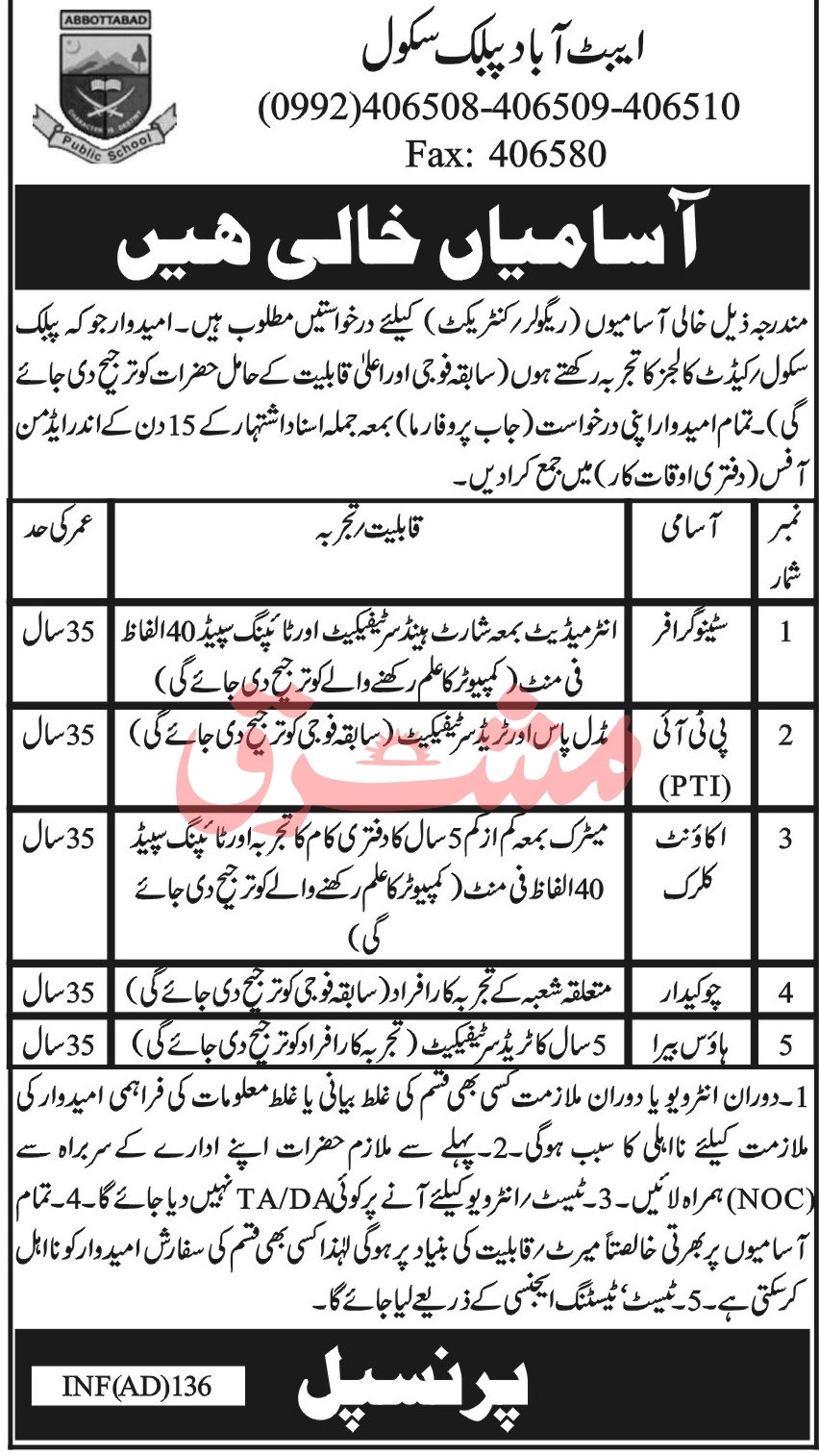 Abbottabad Public School Jobs September 2020