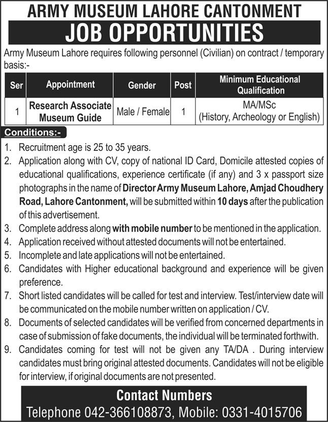 Army Museum Lahore Cantonment Jobs September 2020