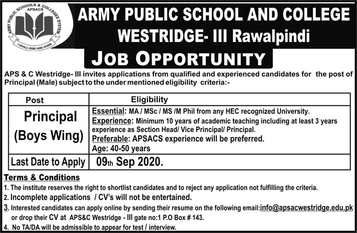 Army Public School and College Jobs September 2020