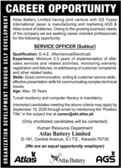 Atlas Battery Limited Jobs September 2020