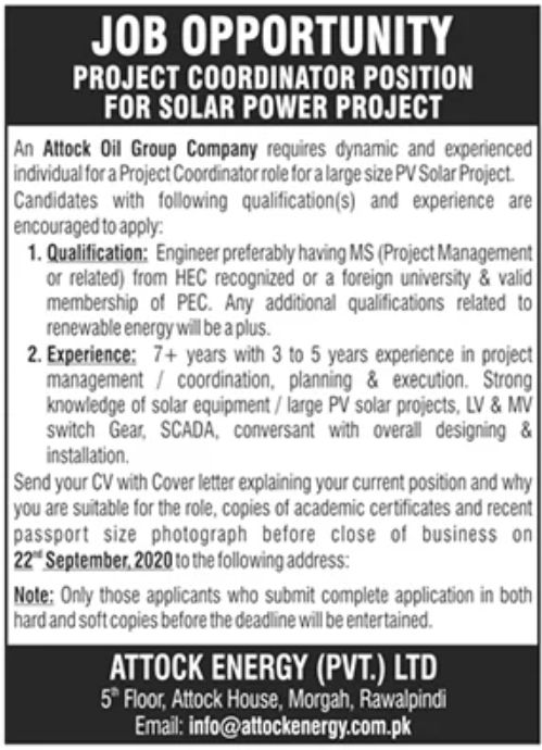 Attock Oil Group Company Jobs September 2020