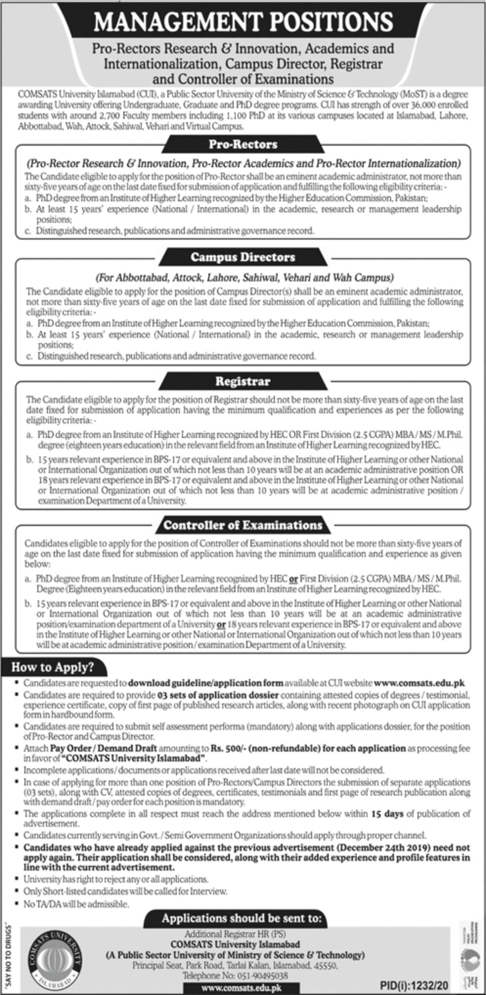 COMSATS University Jobs September 2020