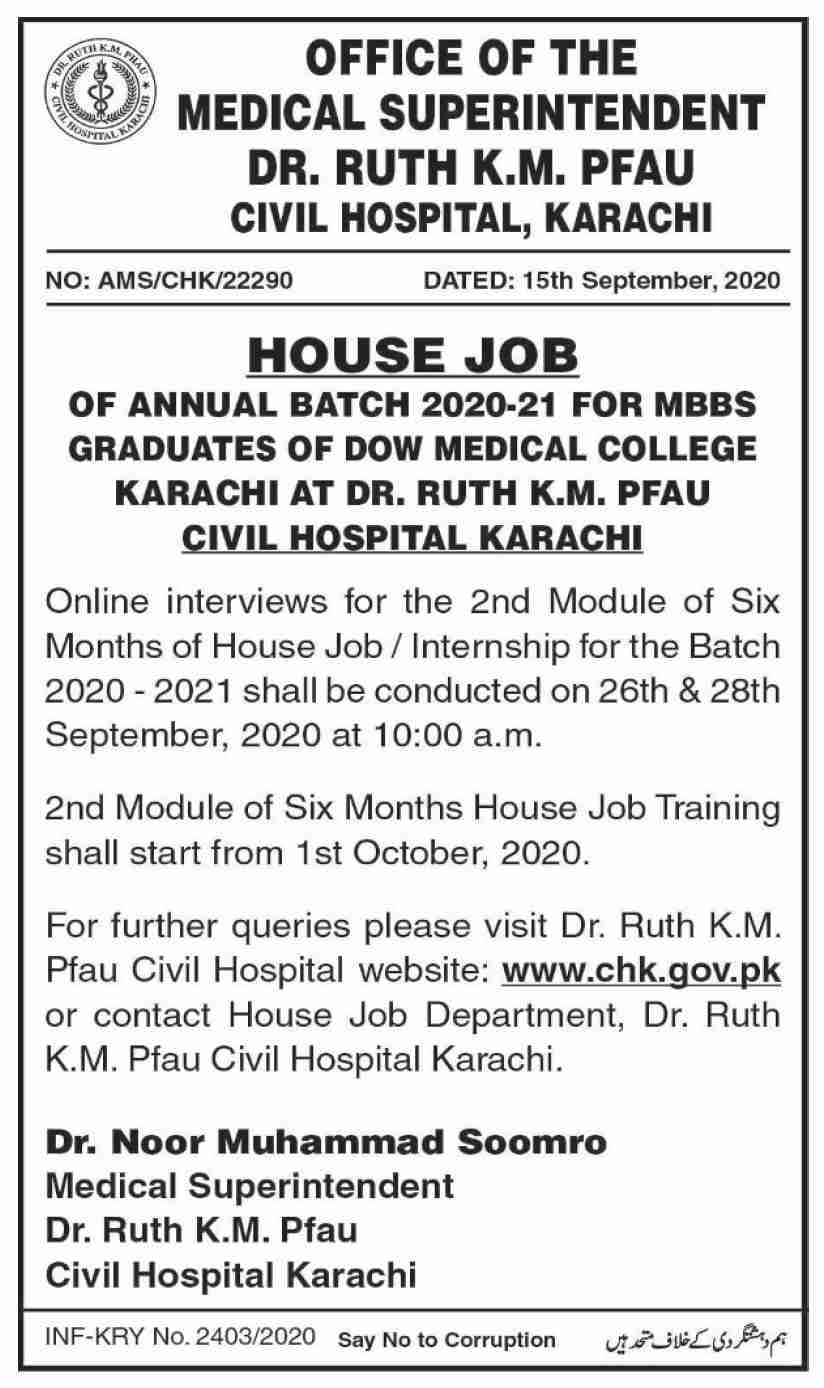 Civil Hospital Karachi Jobs September 2020
