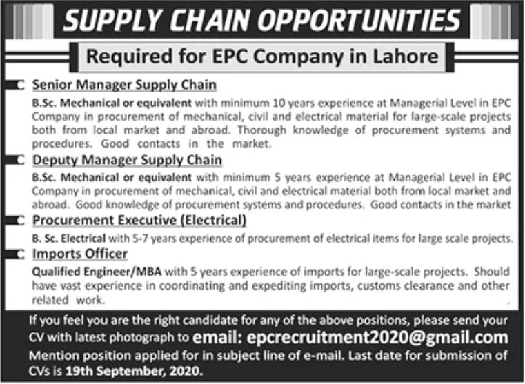 EPC Company Lahore Jobs September 2020