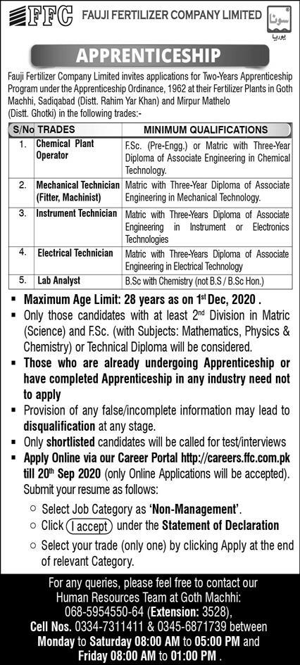 Fauji Fertilizer Company Limited Jobs September 2020