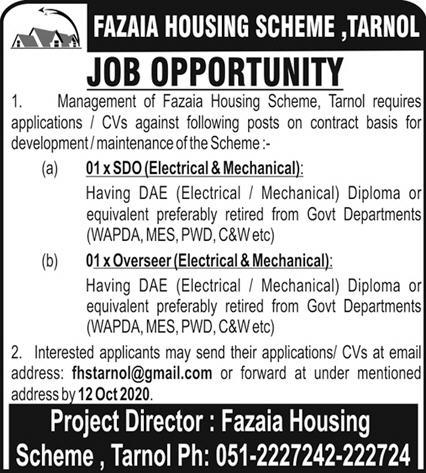 Fazaia Housing Scheme Tarnol Jobs September 2020