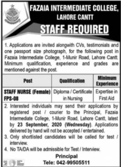 Fazaia Intermediate College Lahore Jobs September 2020