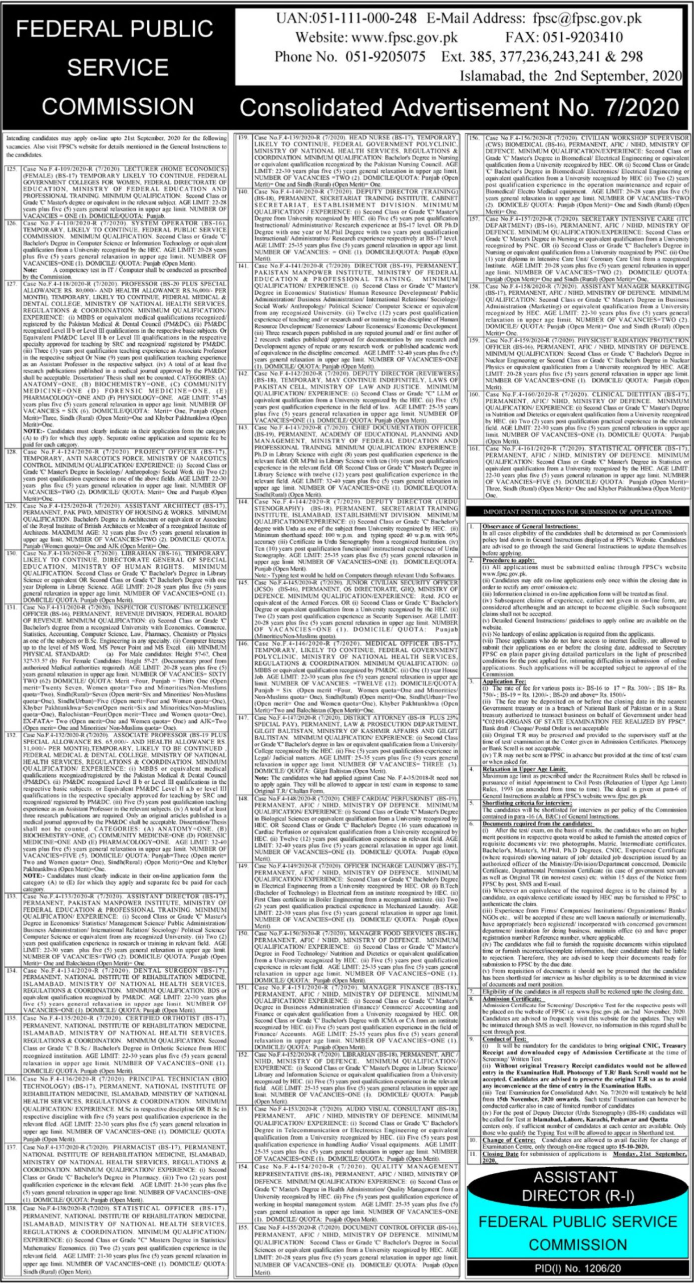 Federal Public Service Commission Jobs September 2020