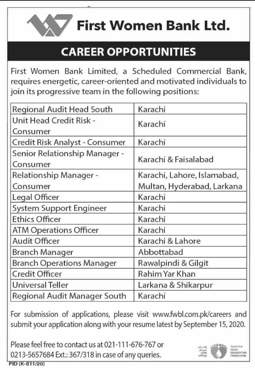 First Women Bank Ltd Jobs September 2020