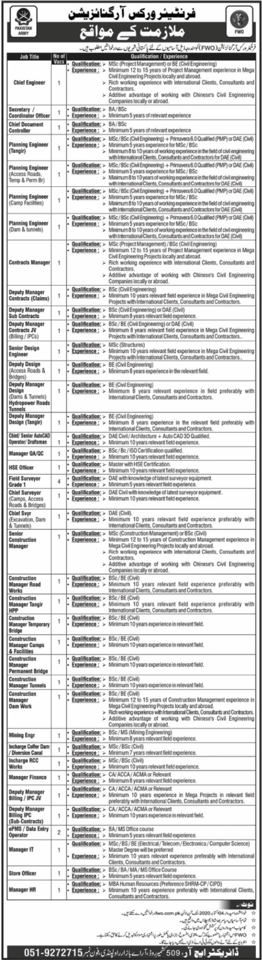Frontier Works Organization FWO Jobs September 2020