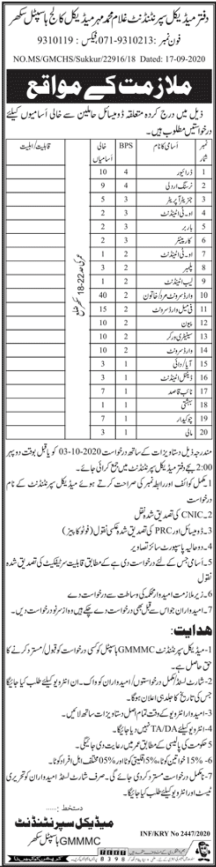 Ghulam Muhammad Mehar Medical College Hospital Sukkur Jobs September 2020