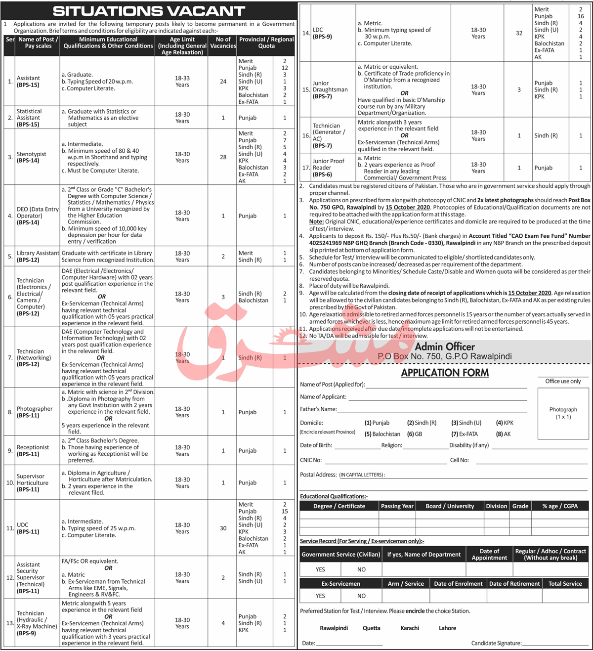Government Organization Rawalpindi Jobs September 2020