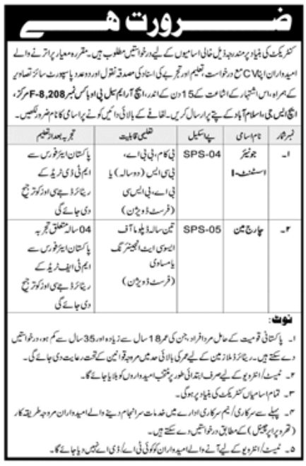 Government Sector Islamabad Jobs September 2020