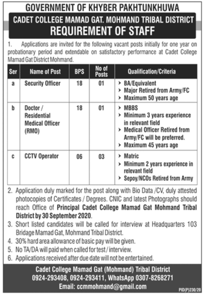 Government of Khyber Pakhtunkhwa Cadet College Mamad Gat Jobs September 2020