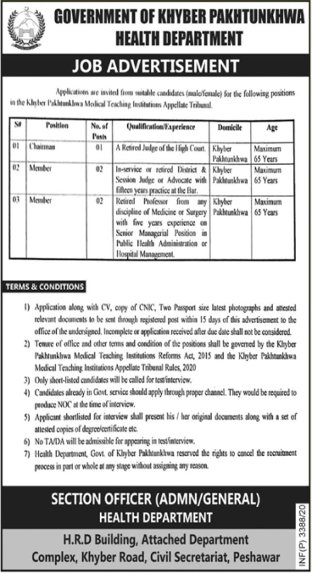 Government of Khyber Pakhtunkhwa Health Department Jobs September 2020