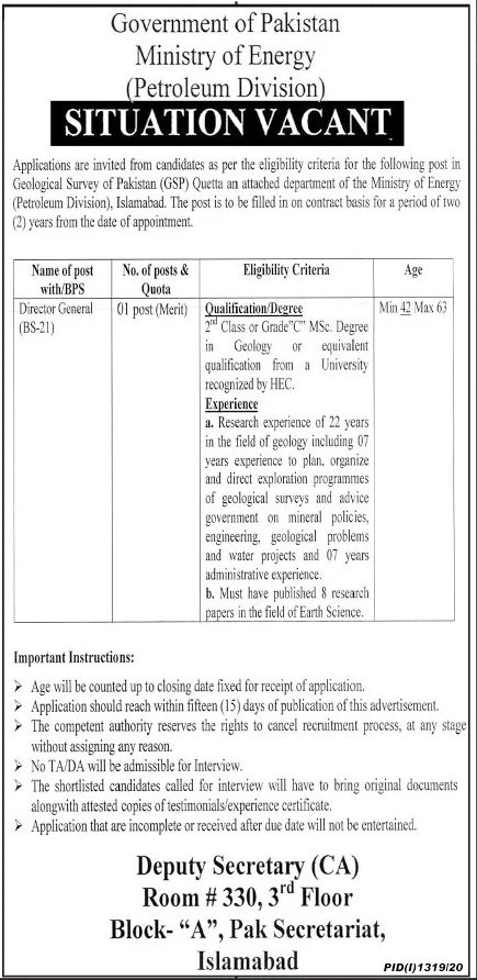 Government of Pakistan Ministry of Energy Jobs September 2020