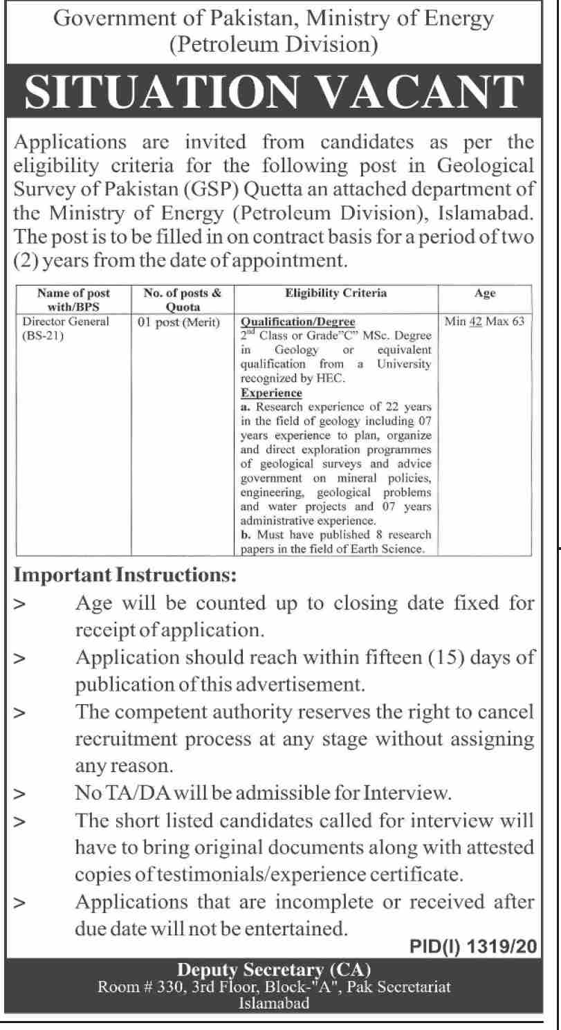 Government of Pakistan Ministry of Energy Petroleum Division Jobs September 2020