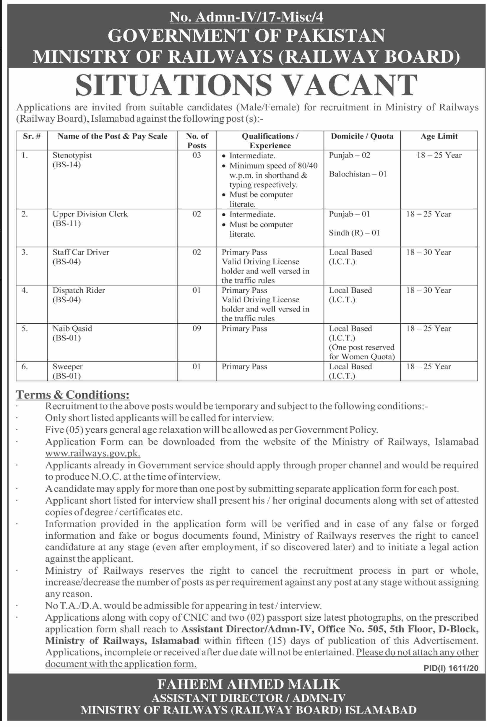 Government of Pakistan Ministry of Railways Jobs September 2020