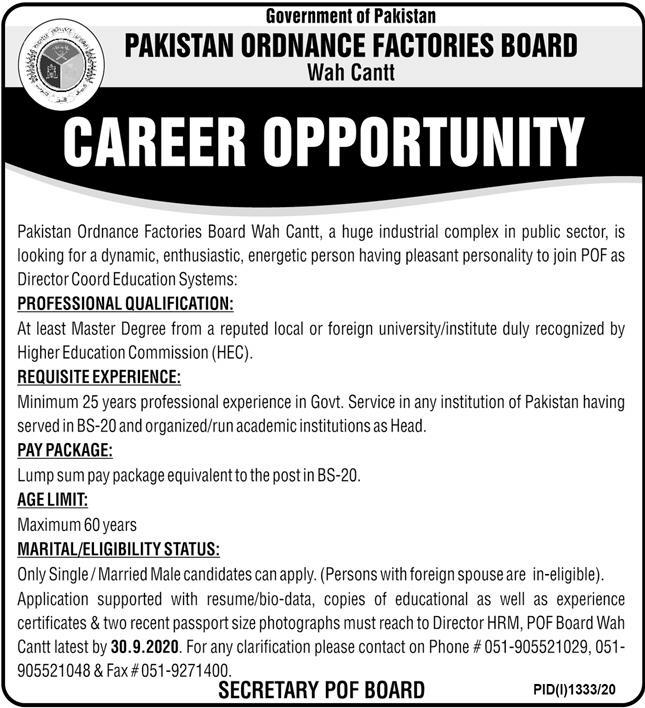 Government of Pakistan - Pakistan Ordnance Factories Board Wah Cantt Jobs September 2020