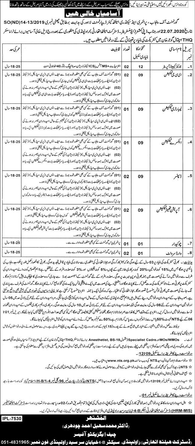 Government of Punjab Primary & Secondary Healthcare Department Jobs September 2020