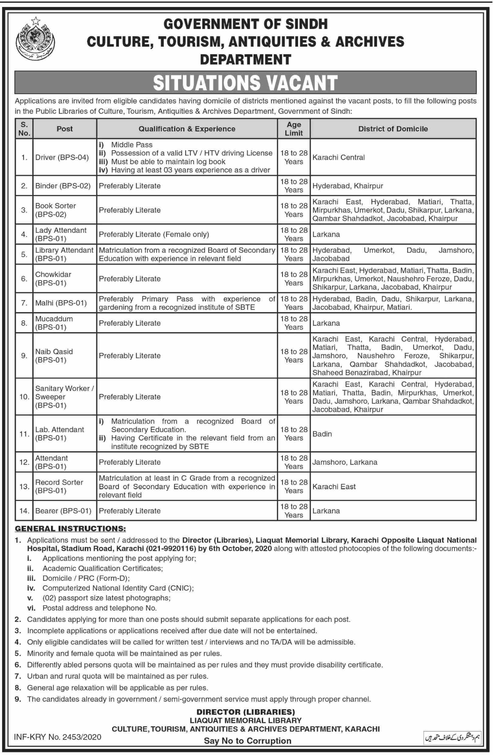 Government of Sindh Culture, Tourism, Antiquities & Archives Department Jobs September 2020