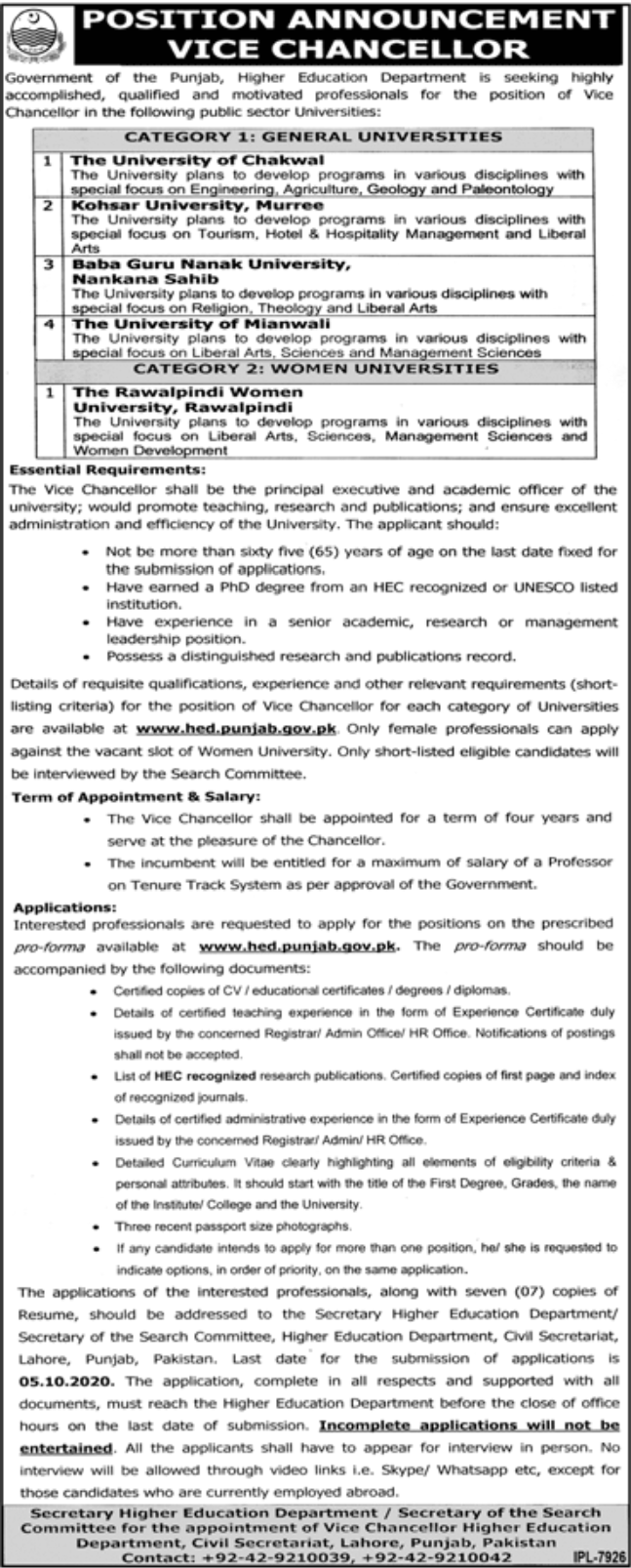Government of the Punjab Higher Education Department Jobs September 2020