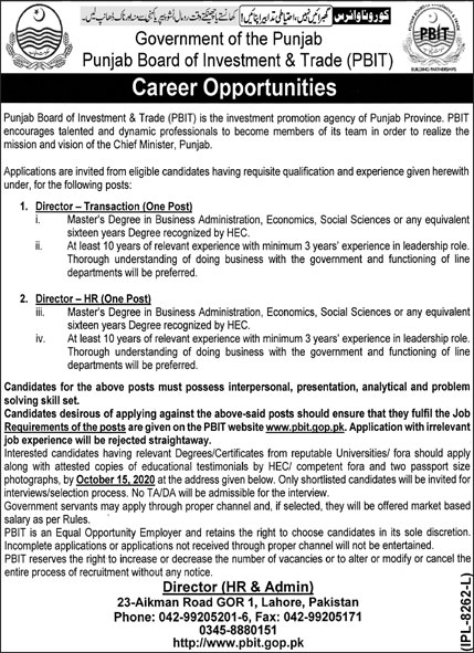 Government of the Punjab - Punjab Board of Investment & Trade PBIT Jobs September 2020