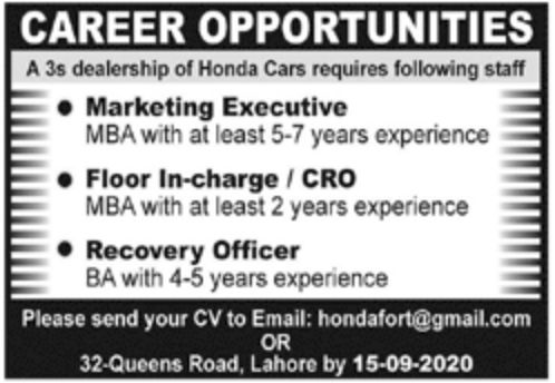 Honda Cars Pvt Ltd Jobs September 2020
