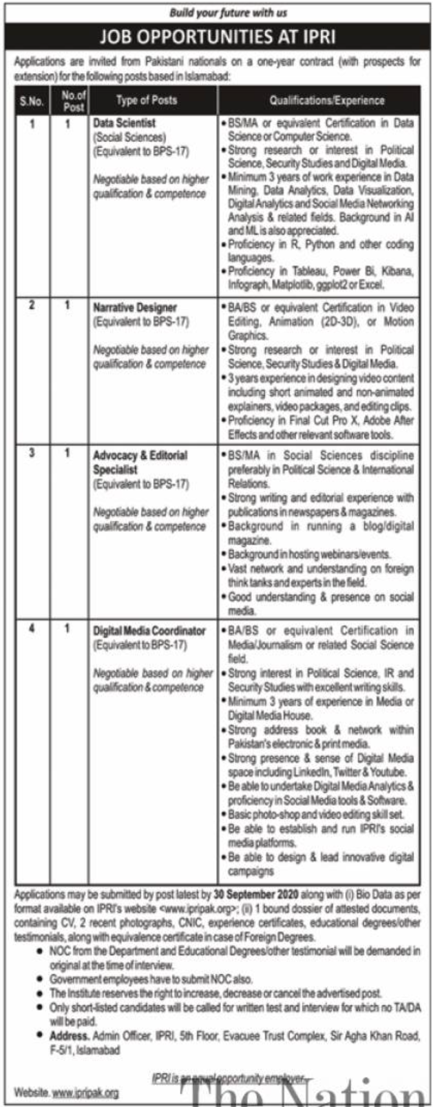 IPRI Jobs Islamabad September 2020