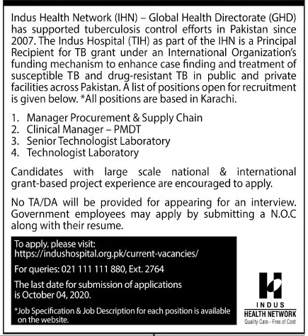 Indus Health Network IHN Jobs September 2020