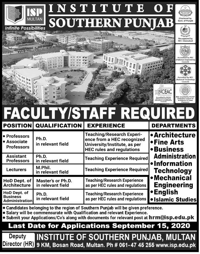 Institute of Southern Punjab Jobs September 2020