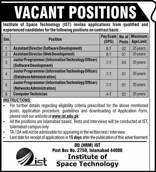 Institute of Space Technology IST Jobs September 2020