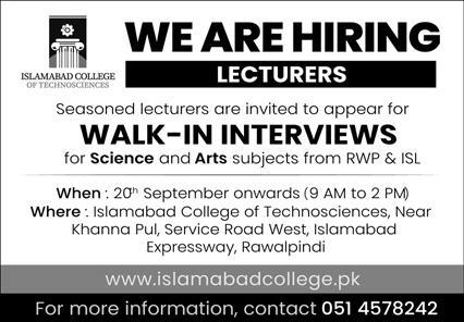 Islamabad College of Technologies Jobs September 2020