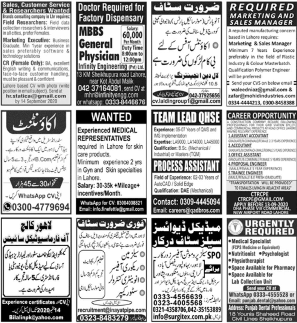 Jang PaperPk Newspaper Jobs 06 September 2020