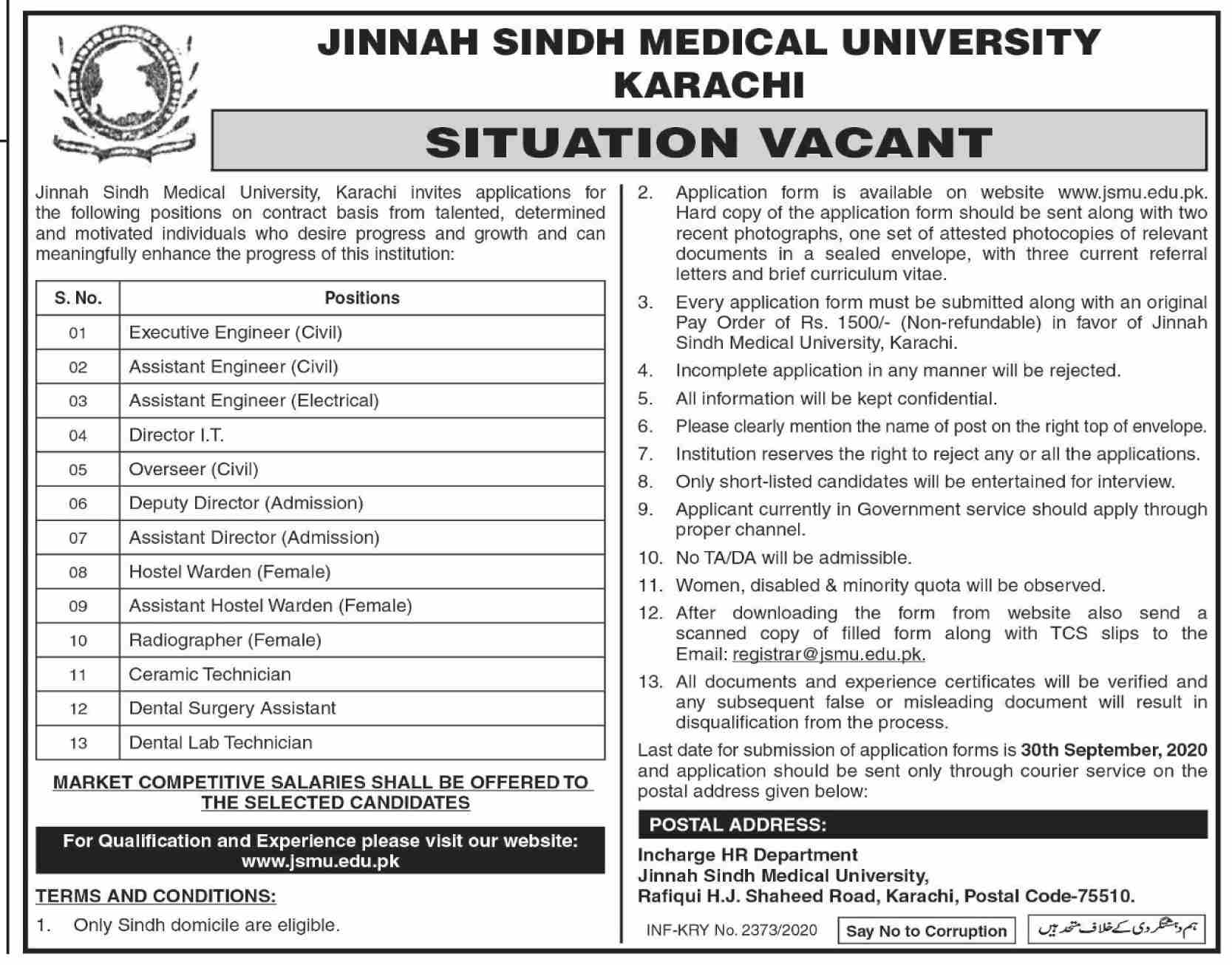 Jinnah Sindh Medical University Jobs September 2020