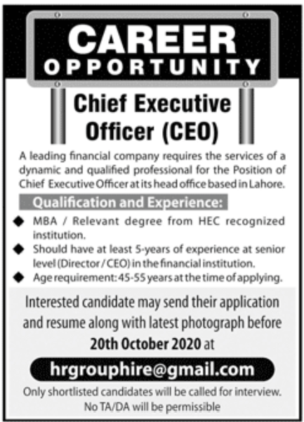 Leading Financial Company Jobs September 2020