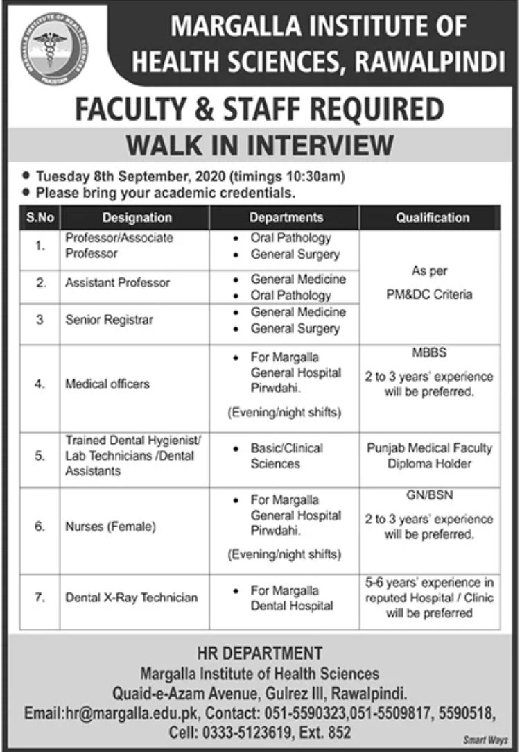 Margalla Institute of Health Sciences Rawalpindi Jobs September 2020
