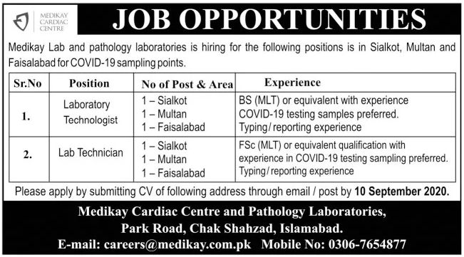 Medikay Cardiac Centre and Pathology Laboratories Jobs September 2020