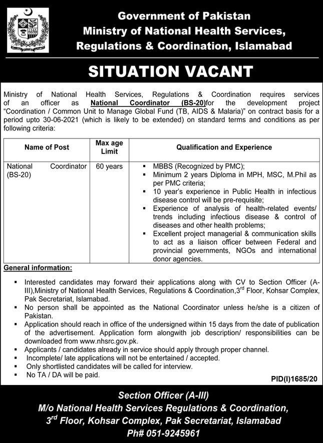 Ministry of National Health Services Regulations & Coordination Jobs September 2020